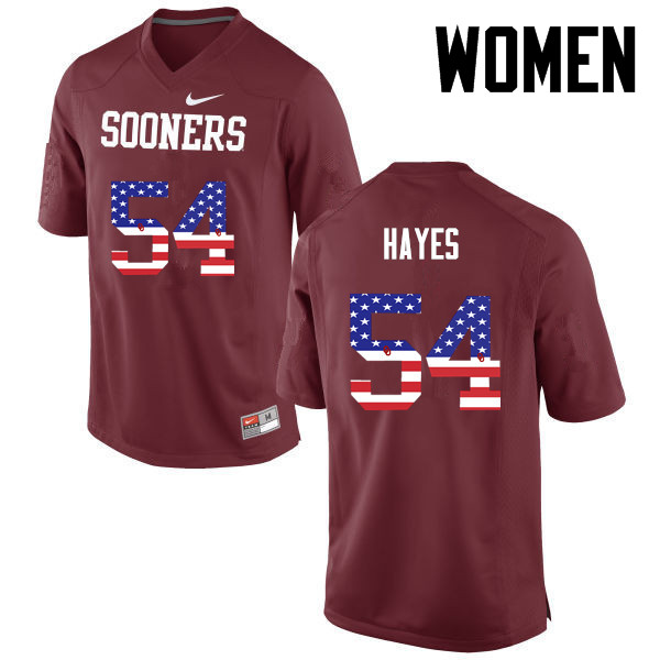 Women Oklahoma Sooners #54 Marquis Hayes College Football USA Flag Fashion Jerseys-Crimson