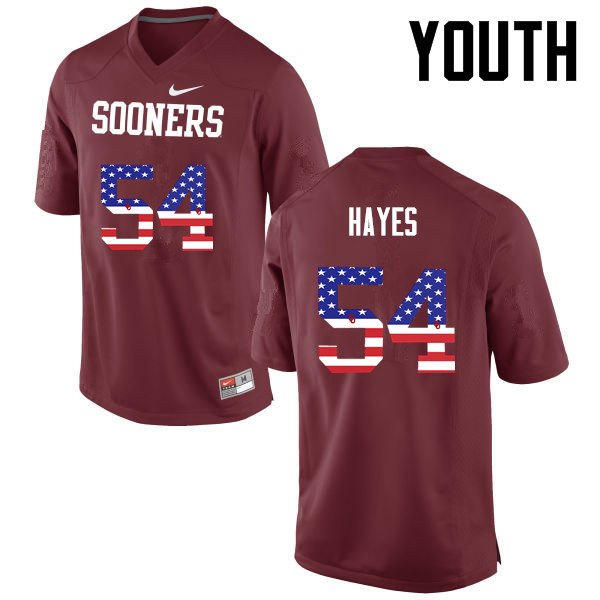 Youth Oklahoma Sooners #54 Marquis Hayes College Football USA Flag Fashion Jerseys-Crimson