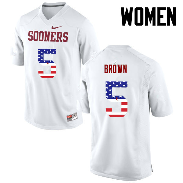Women Oklahoma Sooners #5 Marquise Brown College Football USA Flag Fashion Jerseys-White