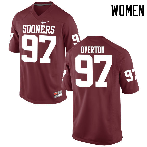 Women Oklahoma Sooners #97 Marquise Overton College Football Jerseys Game-Crimson
