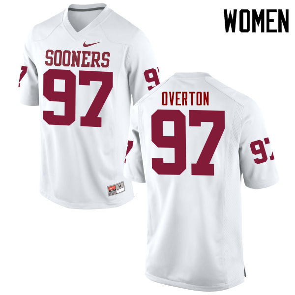 Women Oklahoma Sooners #97 Marquise Overton College Football Jerseys Game-White