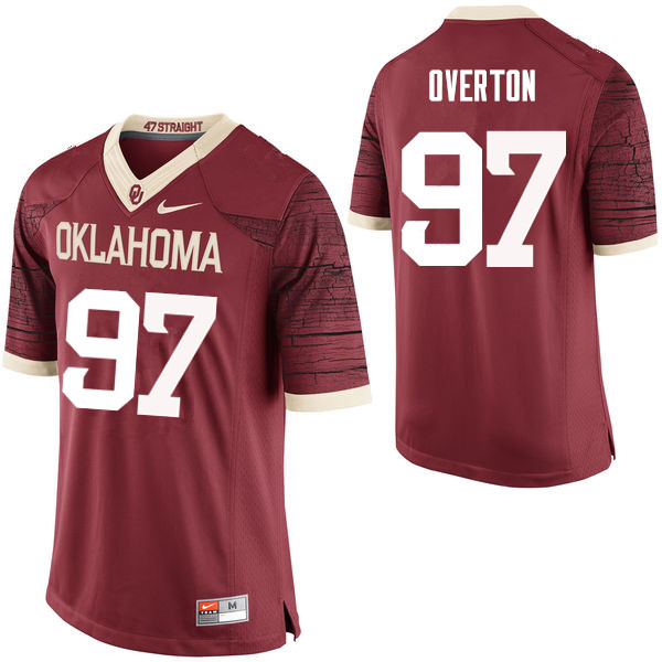 Men Oklahoma Sooners #97 Marquise Overton College Football Jerseys Limited-Crimson