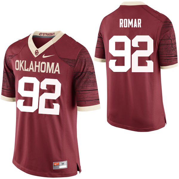Men Oklahoma Sooners #92 Matthew Romar College Football Jerseys Limited-Crimson