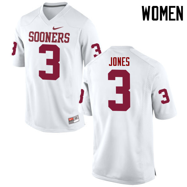 Women Oklahoma Sooners #3 Mykel Jones College Football Jerseys Game-White