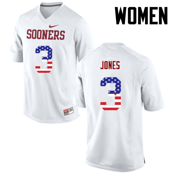 Women Oklahoma Sooners #3 Mykel Jones College Football USA Flag Fashion Jerseys-White