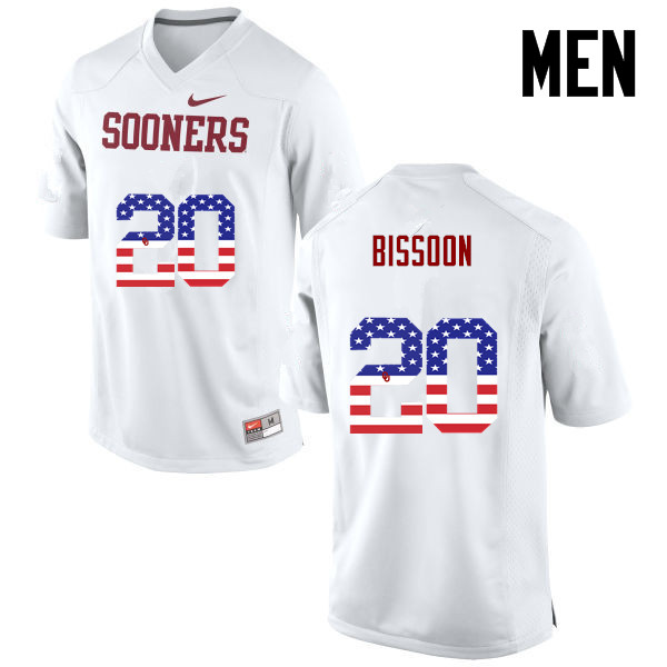 Men Oklahoma Sooners #20 Najee Bissoon College Football USA Flag Fashion Jerseys-White