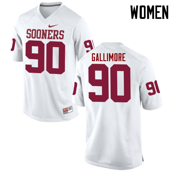 Women Oklahoma Sooners #90 Neville Gallimore College Football Jerseys Game-White
