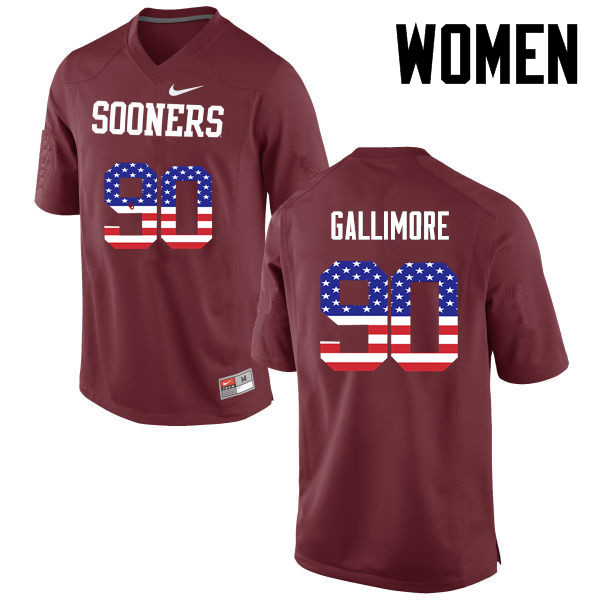 Women Oklahoma Sooners #90 Neville Gallimore College Football USA Flag Fashion Jerseys-Crimson