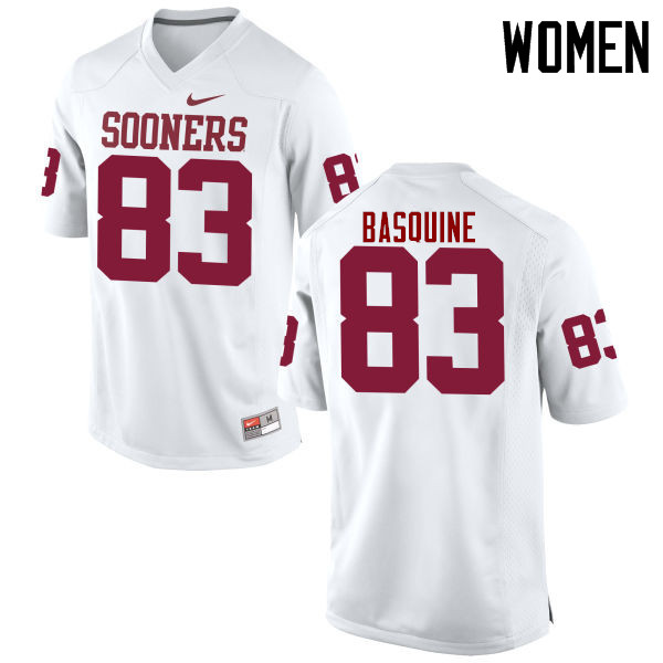 Women Oklahoma Sooners #83 Nick Basquine College Football Jerseys Game-White