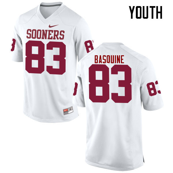 Youth Oklahoma Sooners #83 Nick Basquine College Football Jerseys Game-White