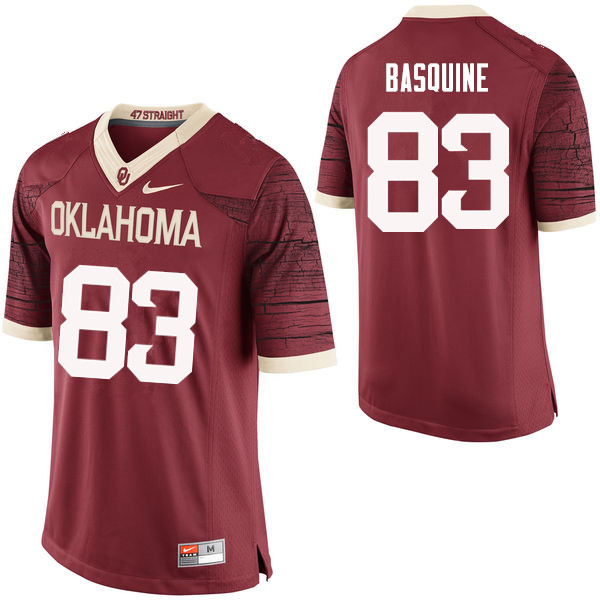 Men Oklahoma Sooners #83 Nick Basquine College Football Jerseys Limited-Crimson
