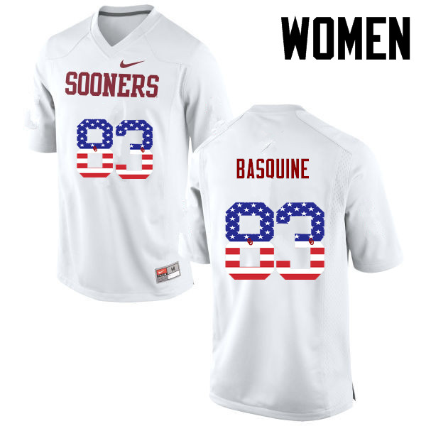 Women Oklahoma Sooners #83 Nick Basquine College Football USA Flag Fashion Jerseys-White