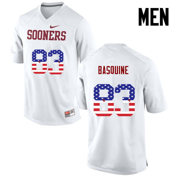 Men Oklahoma Sooners #83 Nick Basquine College Football USA Flag Fashion Jerseys-White