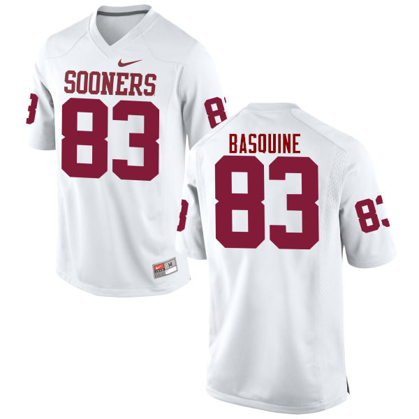 Men Oklahoma Sooners #83 Nick Basquine College Football Jerseys Game-White