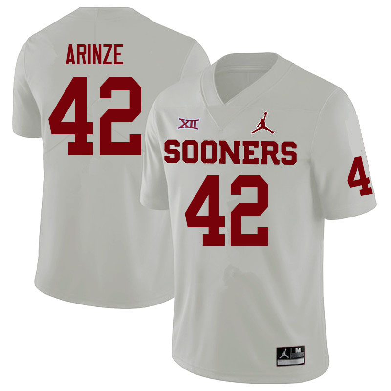 Men #42 Noah Arinze Oklahoma Sooners College Football Jerseys Sale-White