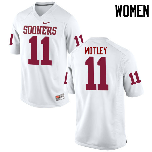 Women Oklahoma Sooners #11 Parnell Motley College Football Jerseys Game-White