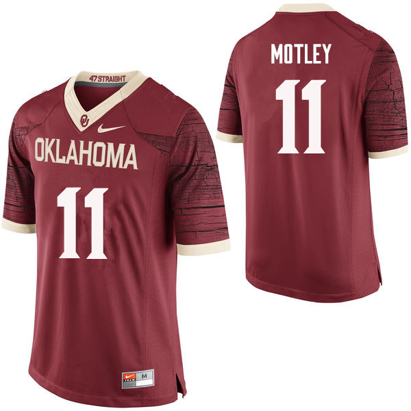 Men Oklahoma Sooners #11 Parnell Motley College Football Jerseys Limited-Crimson