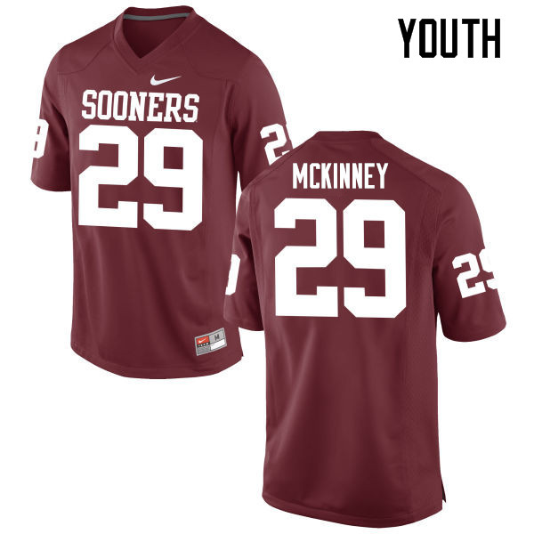 Youth Oklahoma Sooners #29 Prentice McKinney College Football Jerseys Game-Crimson