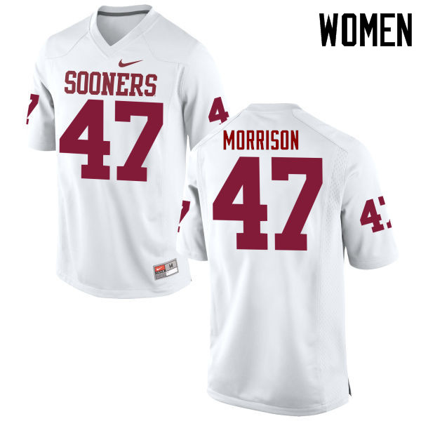 Women Oklahoma Sooners #47 Reece Morrison College Football Jerseys Game-White
