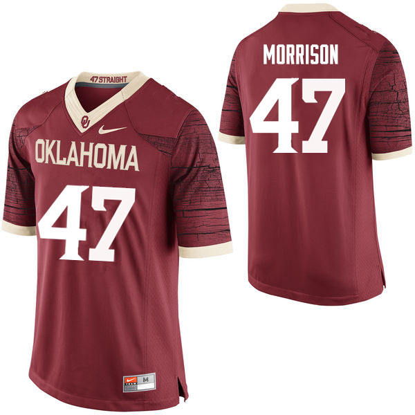 Men Oklahoma Sooners #47 Reece Morrison College Football Jerseys Limited-Crimson