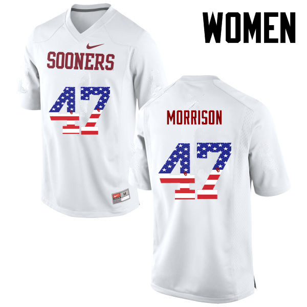Women Oklahoma Sooners #47 Reece Morrison College Football USA Flag Fashion Jerseys-White