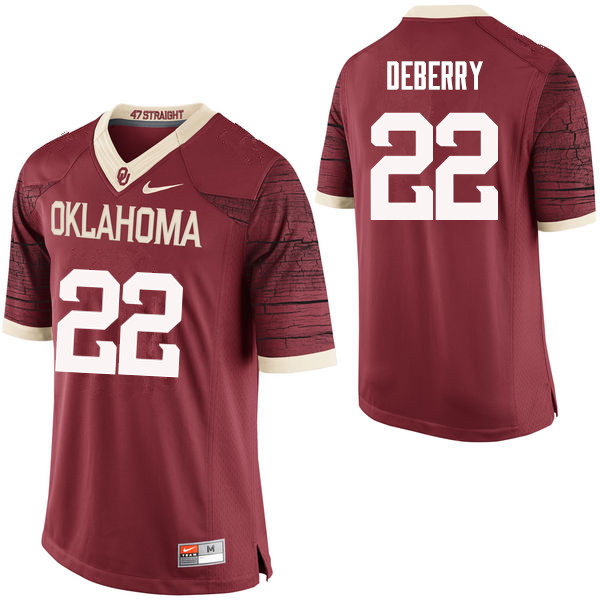 Men Oklahoma Sooners #22 Ricky DeBerry College Football Jerseys Limited-Crimson