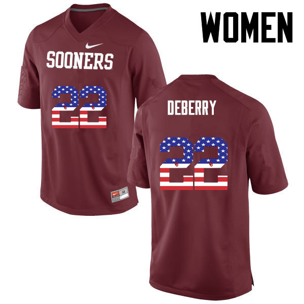 Women Oklahoma Sooners #22 Ricky DeBerry College Football USA Flag Fashion Jerseys-Crimson