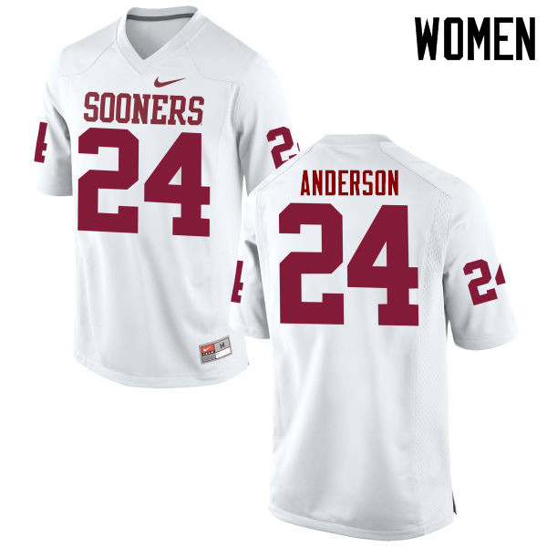 Women Oklahoma Sooners #24 Rodney Anderson College Football Jerseys Game-White