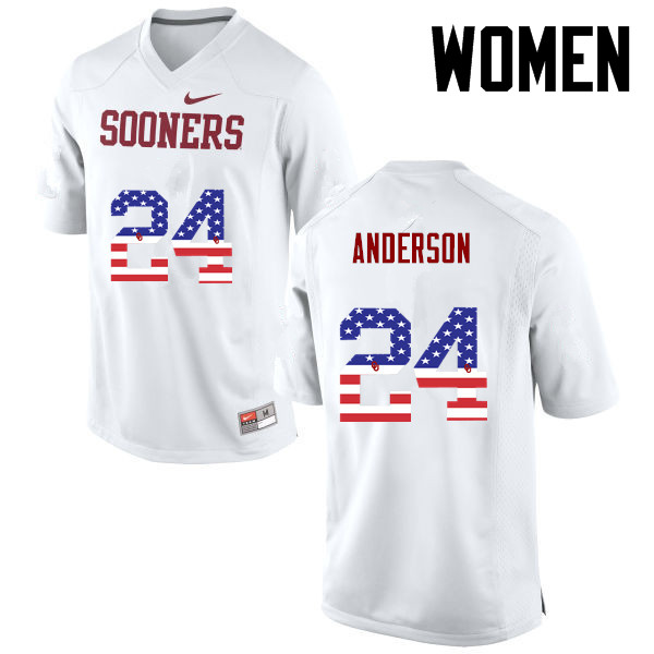 Women Oklahoma Sooners #24 Rodney Anderson College Football USA Flag Fashion Jerseys-White