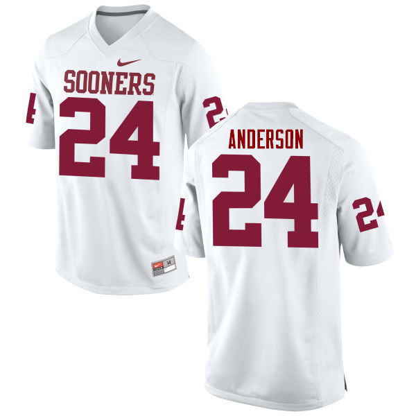 Men Oklahoma Sooners #24 Rodney Anderson College Football Jerseys Game-White