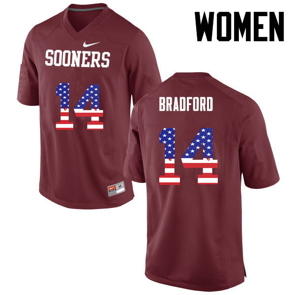 Women Oklahoma Sooners #14 Sam Bradford College Football USA Flag Fashion Jerseys-Crimson