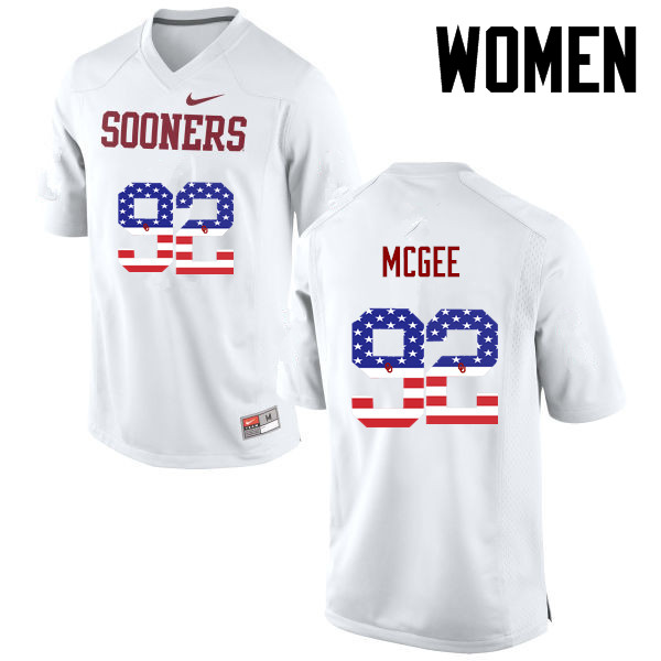 Women Oklahoma Sooners #92 Stacy McGee College Football USA Flag Fashion Jerseys-White