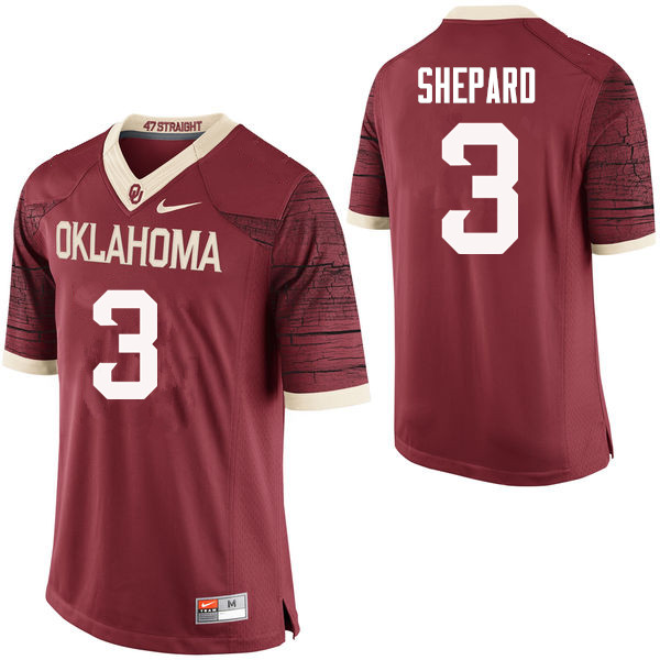Men Oklahoma Sooners #3 Sterling Shepard College Football Jerseys Limited-Crimson