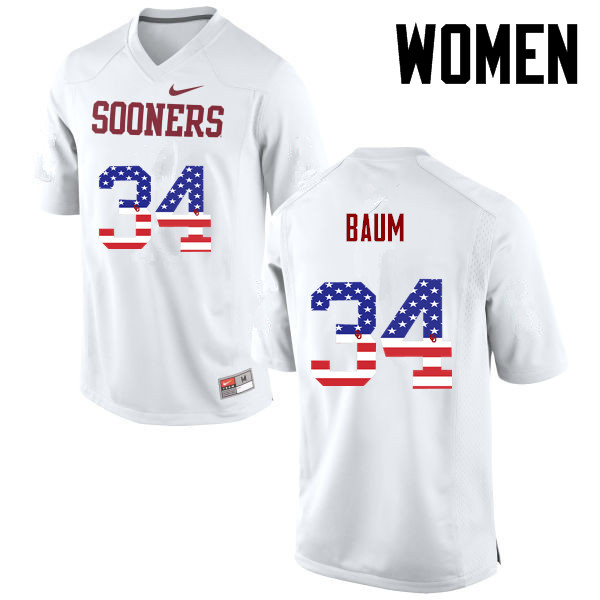 Women Oklahoma Sooners #34 Tanner Baum College Football USA Flag Fashion Jerseys-White