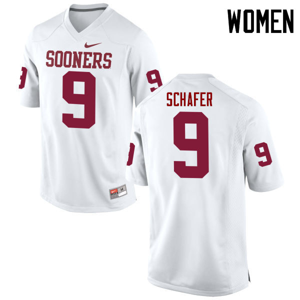 Women Oklahoma Sooners #9 Tanner Schafer College Football Jerseys Game-White