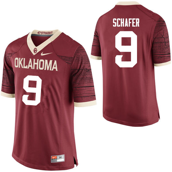Men Oklahoma Sooners #9 Tanner Schafer College Football Jerseys Limited-Crimson