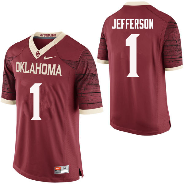 Men Oklahoma Sooners #1 Tony Jefferson College Football Jerseys Limited-Crimson