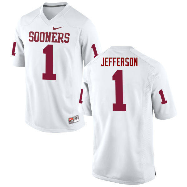 Men Oklahoma Sooners #1 Tony Jefferson College Football Jerseys Game-White