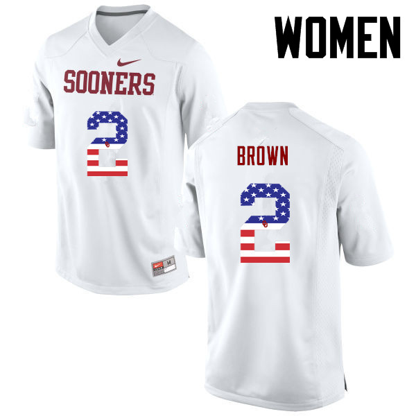 Women Oklahoma Sooners #2 Tre Brown College Football USA Flag Fashion Jerseys-White