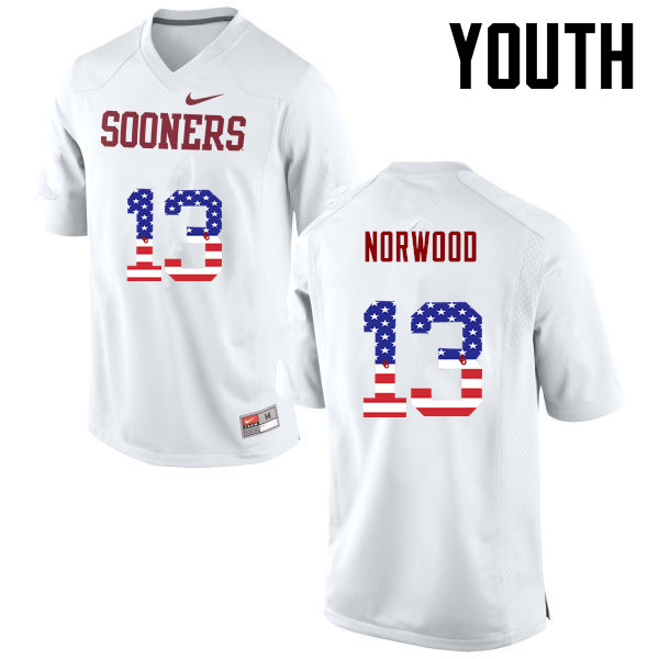 Youth Oklahoma Sooners #13 Tre Norwood College Football USA Flag Fashion Jerseys-White