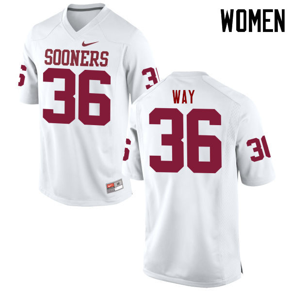 Women Oklahoma Sooners #36 Tress Way College Football Jerseys Game-White