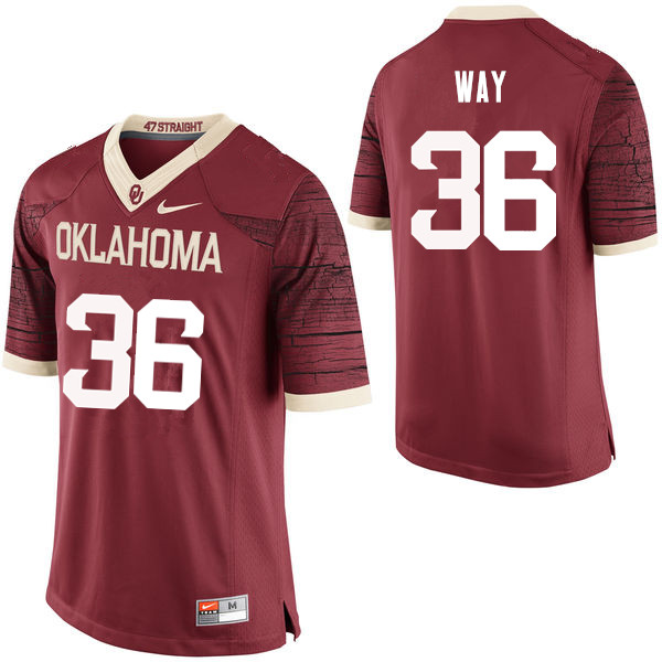 Men Oklahoma Sooners #36 Tress Way College Football Jerseys Limited-Crimson