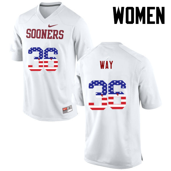 Women Oklahoma Sooners #36 Tress Way College Football USA Flag Fashion Jerseys-White