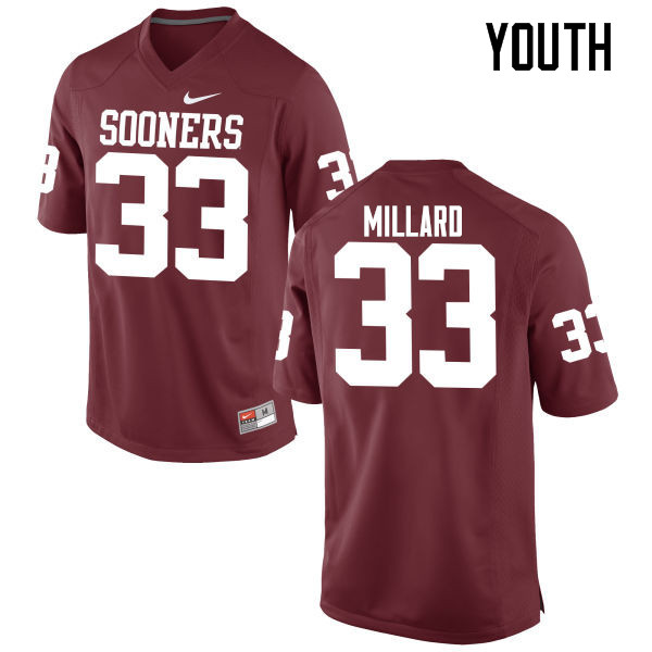 Youth Oklahoma Sooners #33 Trey Millard College Football Jerseys Game-Crimson