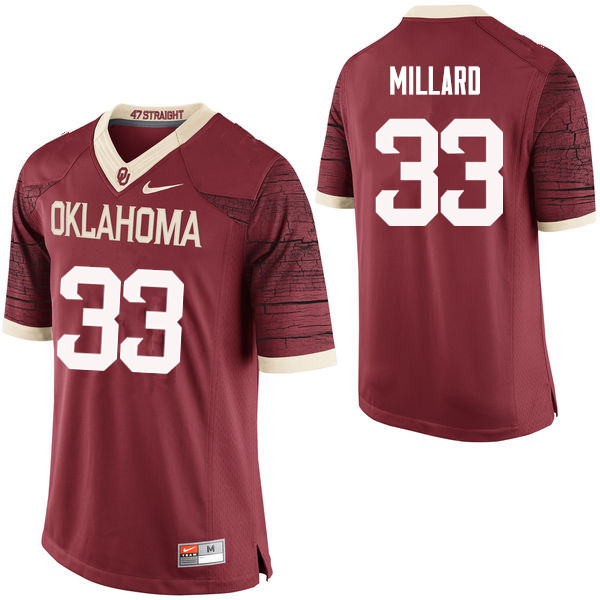 Men Oklahoma Sooners #33 Trey Millard College Football Jerseys Limited-Crimson