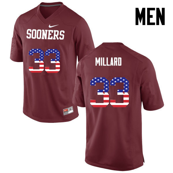 Men Oklahoma Sooners #33 Trey Millard College Football USA Flag Fashion Jerseys-Crimson