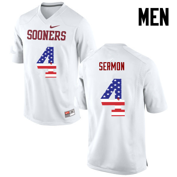 Men Oklahoma Sooners #4 Trey Sermon College Football USA Flag Fashion Jerseys-White