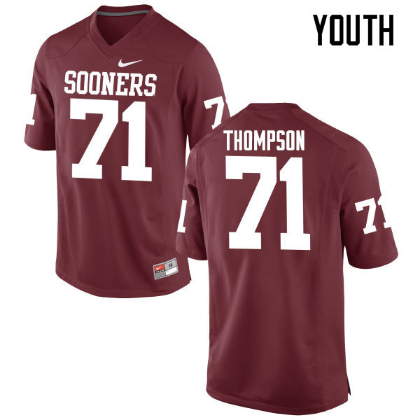 Youth Oklahoma Sooners #71 Tyrus Thompson College Football Jerseys Game-Crimson