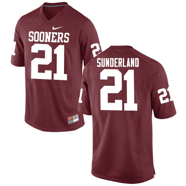 Men Oklahoma Sooners #21 Will Sunderland College Football Jerseys Game-Crimson