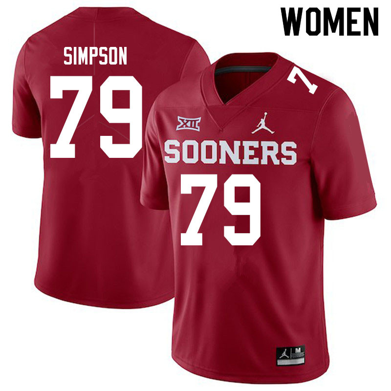 Women #79 Darrell Simpson Oklahoma Sooners Jordan Brand College Football Jerseys Sale-Crimson